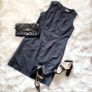 Calvin Klein Charcoal Sleeveless Sheath Dress 16
